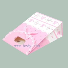Pink and white printed gift paper bag