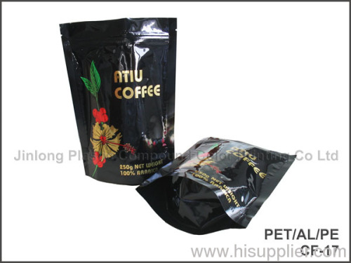 zipped coffee bag