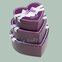 Heart shape paper gift box 3 pcs per set