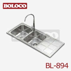 Italy High Quality Matt Double bowl Single drainer Welding rectangle/Square Sink 304# Bowl Corner Angle R60 BL-894