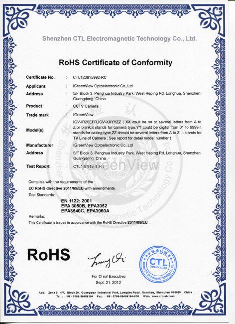 IGreenView 2012 CCTV Product RoHS Certification - IGreenView ...