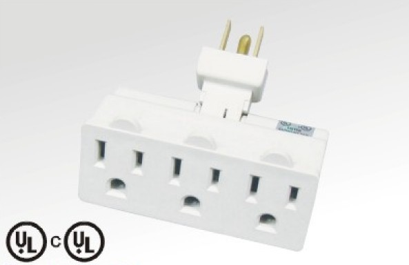 3ways American type adapter with earth contactor