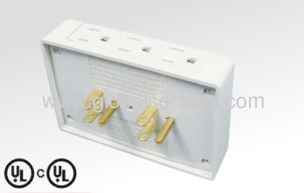 6ways 2plugs American type adapter