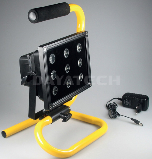 Rechargeable Portable 9 LED Work Light   Metal S Stand   1600lm Output