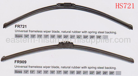 Universal frameless wiper blade,natural rubber with spring steel backing