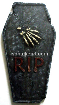 Appliance with Halloween tombstone