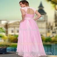 drop shipping hot sale floor length beaded pink tulle prom dress
