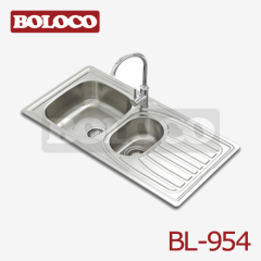 Europe Middle Polish/Satin/Ele-pearl Double bowl Single drainer One piece rectangle/Square Kitchen Sink 304# BL-954
