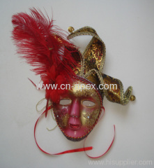 Feather fabric art hand painted masks