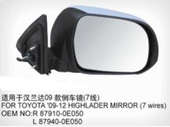 Car Side Mirror For Toyota Highlander 2009 7 Wires 87910-0E0