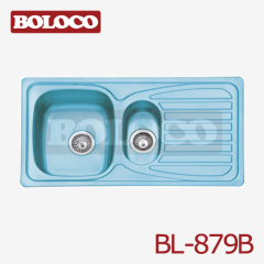 Middle Polish/Satin/Ele-pearl Double bowl Single drainer One piece rectangle/Square Blue Film Sink 304# BL-879B