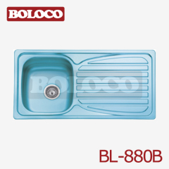 Middle Polish/Satin/Ele-pearl Single bowl Single drainer One piece rectangle/Square Blue Film Sink 304# BL-880B