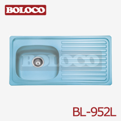 Europe Polish/Satin/Ele-pearl Single bowl Single drainer One piece rectangle/Square Kitchen Blue Film Sink 304# BL-952L