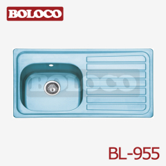 Europe Polish/Satin/Ele-pearl Double bowl Single drainer One piece rectangle/Square Kitchen Blue Film Sink 304# BL-955