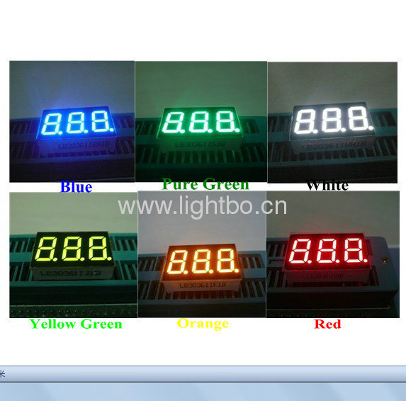 Ultra Blue,White,Green,Red and Amber 3 digit 0.36