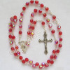 red faceted crystal confirmation rosary prayer beads necklace