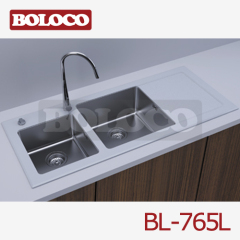 Matt Double bowl Single drainer rectangle/Square Kitchen Glass Sink 304# BL-765L