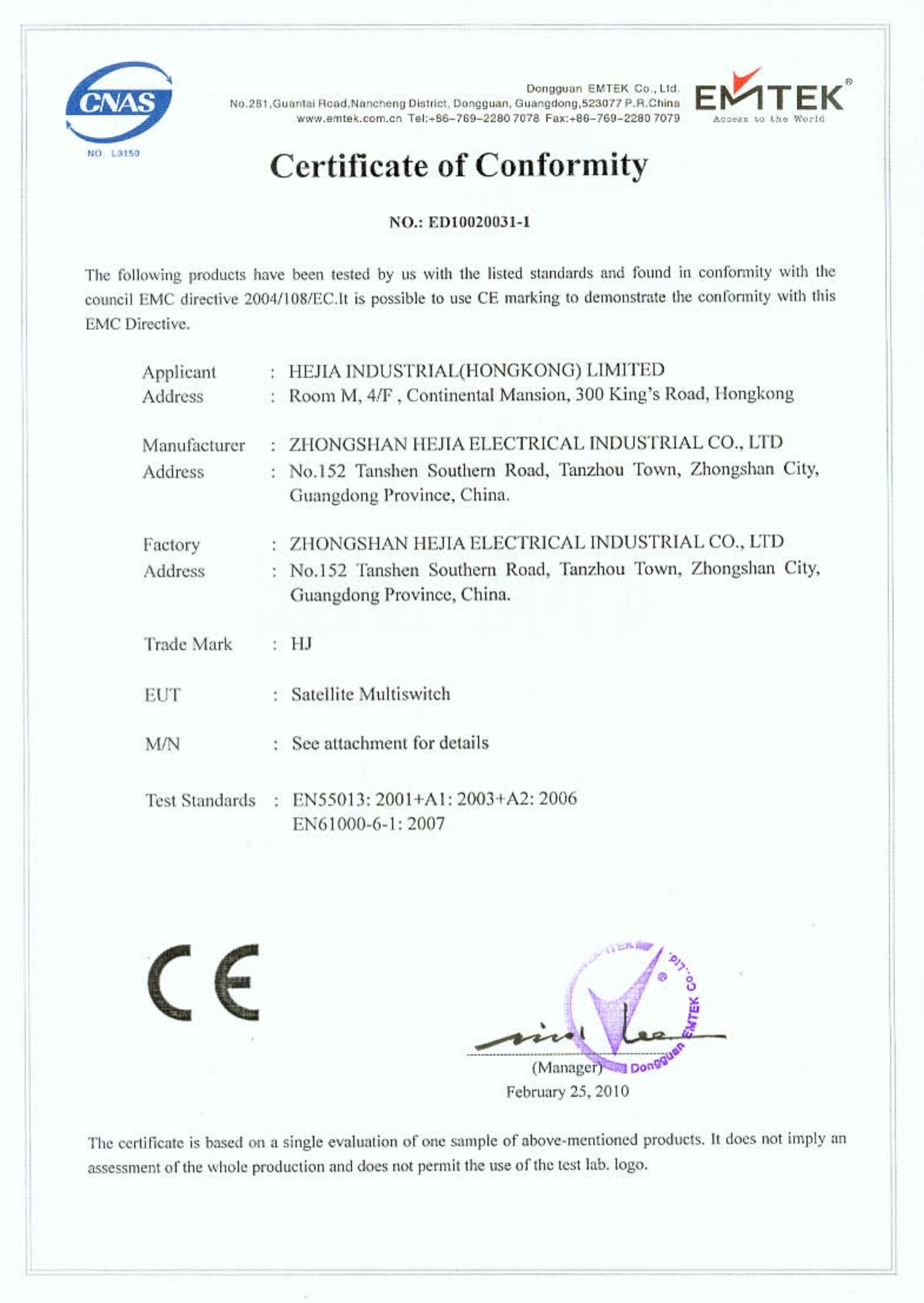The Sat Tv Products Certification Of Ce Shenzhen