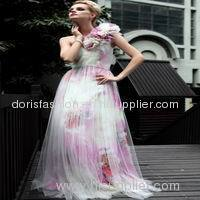 wholesale transparent net design printed dresses for prom party