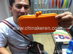 2013 fashion orange silicone glass bag