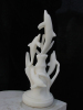Hand Carved White Marble Dolphin Sculpture