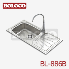 U.K/England Middle&High Polish/Satin/Ele-pearl Single bowl Single drainer Welding rectangle/Square Sink 304# BL-886B