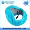 Blue back wearing knitted earmuff with bass speaker