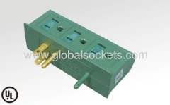 6ways American type adapter with earth contactor and children protectors