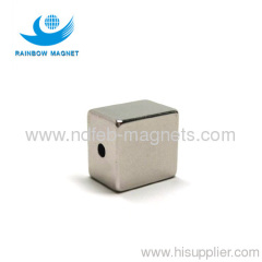 Permanent neodymium Iron Boron block with hole