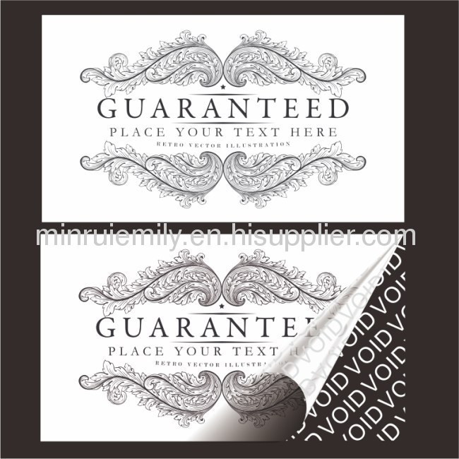 Custom polyester warranty void labels,leave white color texts VOID behind once tampered