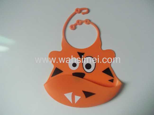 Hot tiger design silicone baby bibs with good feeding catcher