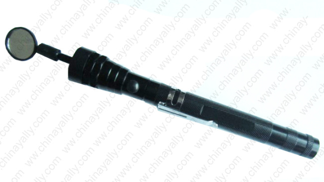 Telescopic flashlight with magnet and mirror