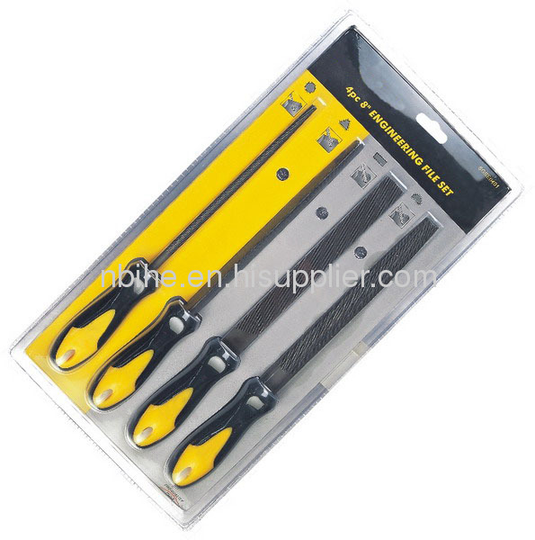4Pcs Engineering File set with soft handle in Double blister card