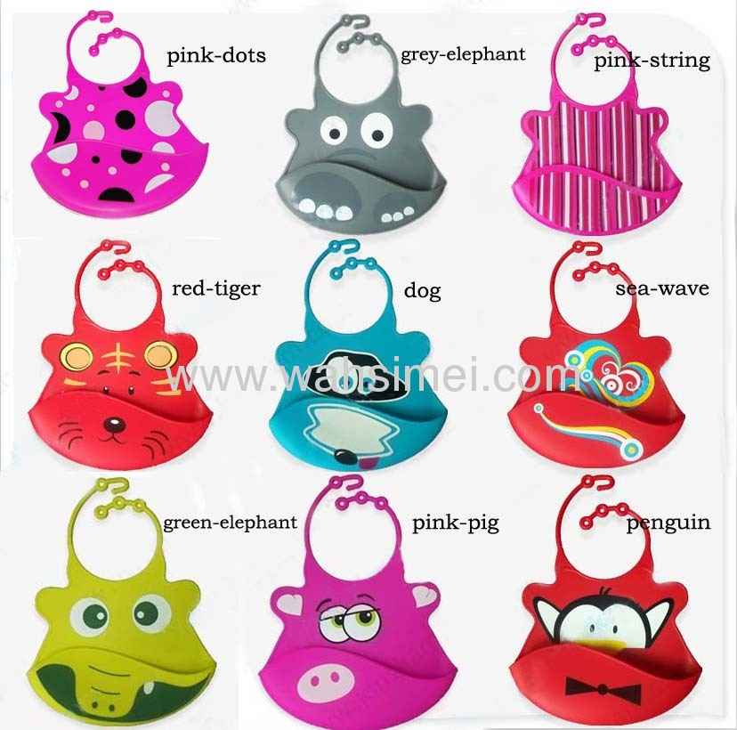 FDA food grade Various animal design Silicon Baby Bib