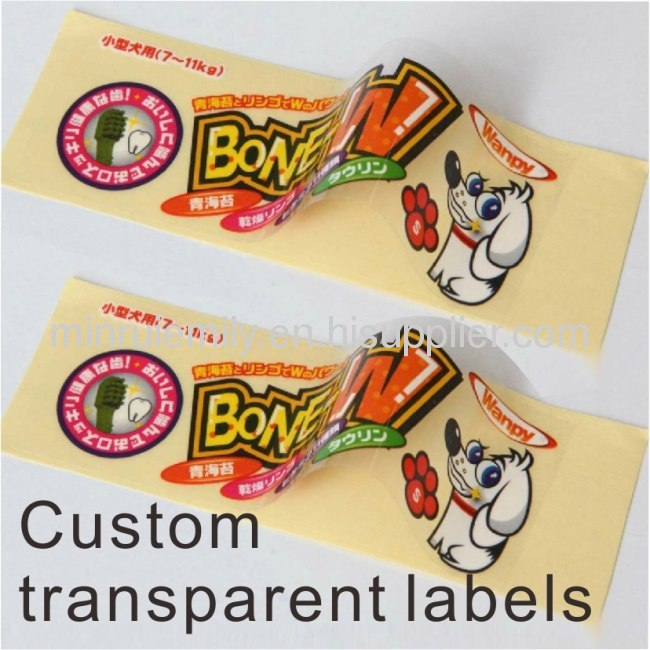 Custom colorful transparent sticky labels,transparent adhesive labels for packages