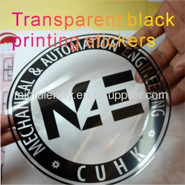 Custom big size transparent labels with black printing,custom clear stickers