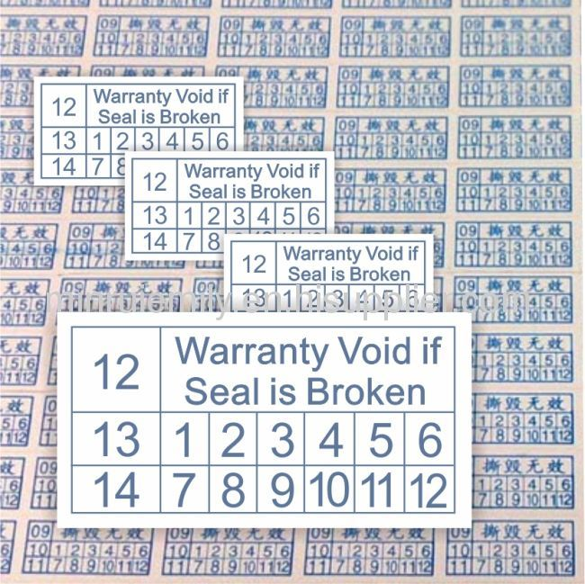 Warranty Void If Damaged Labels From China Manufacturer