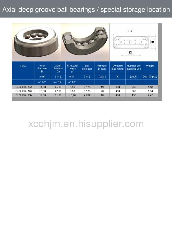 Axial deep groove ball bearings