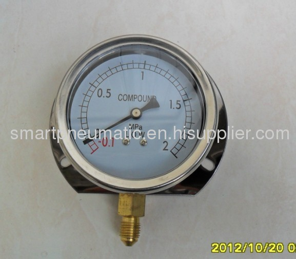 Stainless Steel Pressure Gauge 63MM,Bottom connection,can with Crimped Bezel