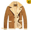 Men's Luxury Sheepskin Lamb Fur Lined Leather Winter Coat