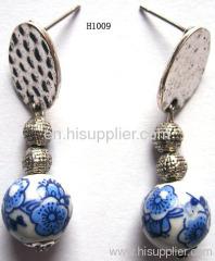 H1009 Blue and White Procelain Zinc Alloy Fashion Earrings