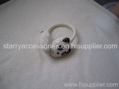 White acrylic earmuffs with panda