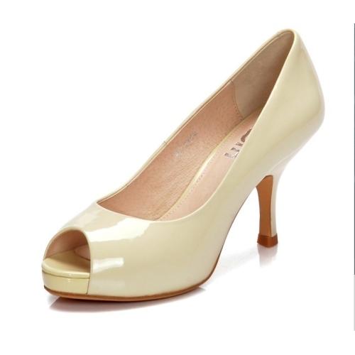 Women peep toe kitten heel dress shoes