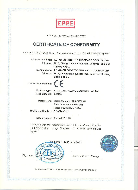 CE for swing door operator sw100
