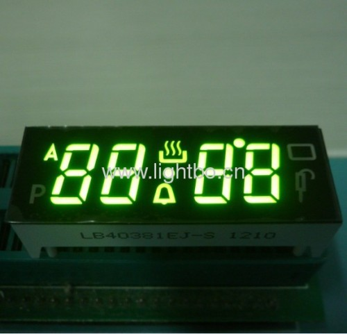 Super bright green 4 digit 7 segment led displays for multifunction digital oven timer control