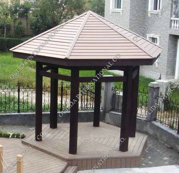 Plastic Wood Hexagon Gazebo OLDA-6005 17ftX15ftX13ft