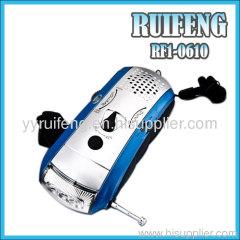 functional radio lighrt hand pressing radio light