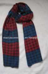 acrylic houndstooth knitted scarf