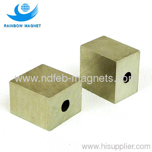 Permanent Alnico Magnet square block with hole