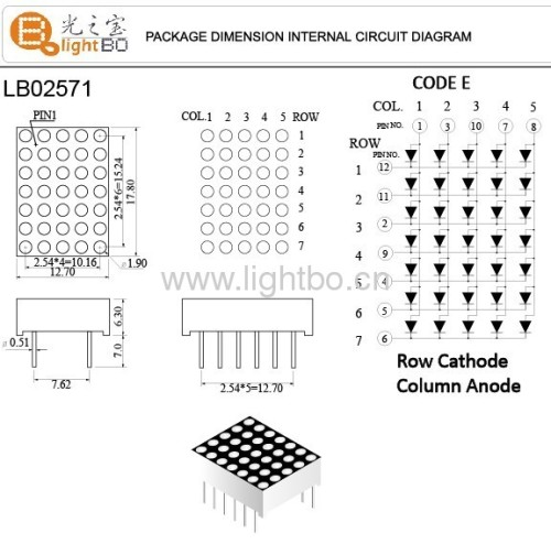 0.71.9mm Ultra Bright Red 5 x 7 Dot-matrix LED Display